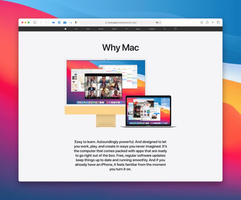 "Página ""Why Mac"", da Apple"