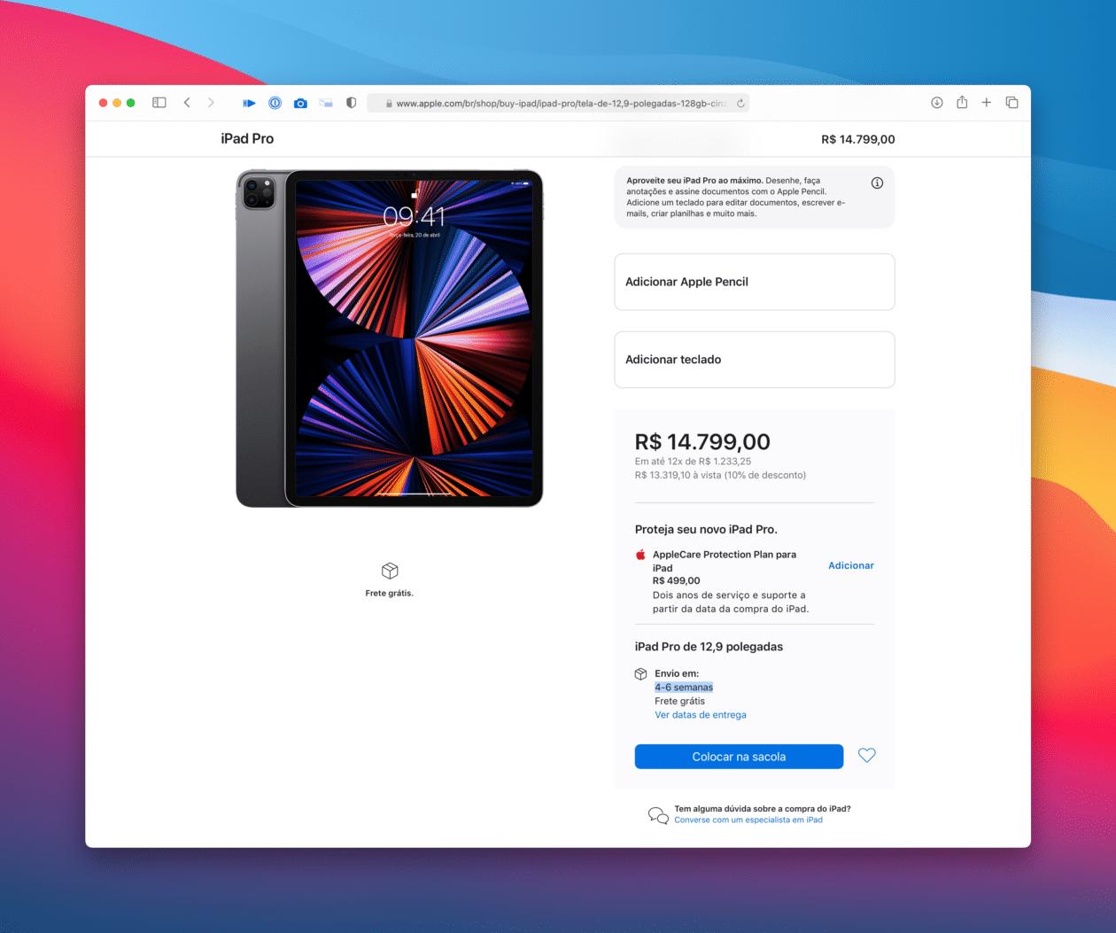 """Prazo de envio do iPad Pro de 12,9"""""""