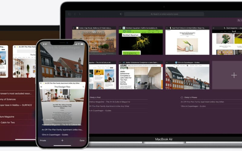 Safari no iPhone, no Mac e no iPad