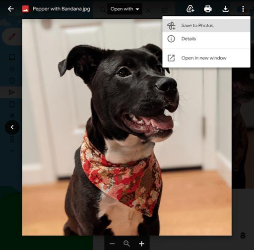 Opção de adicionar imagens do Gmail ao Google Fotos