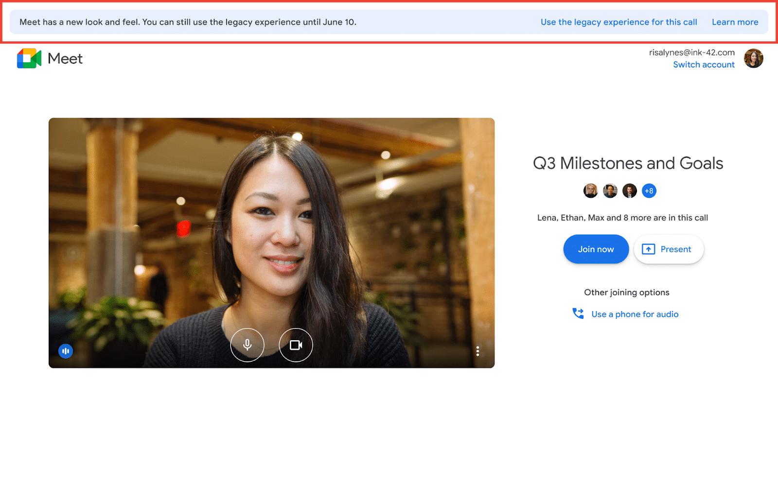 Alerta do Google Meet