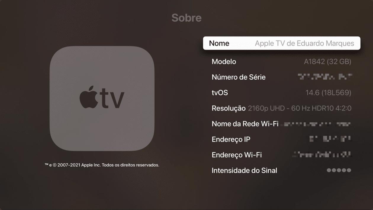 Visualizando o número de série da Apple TV