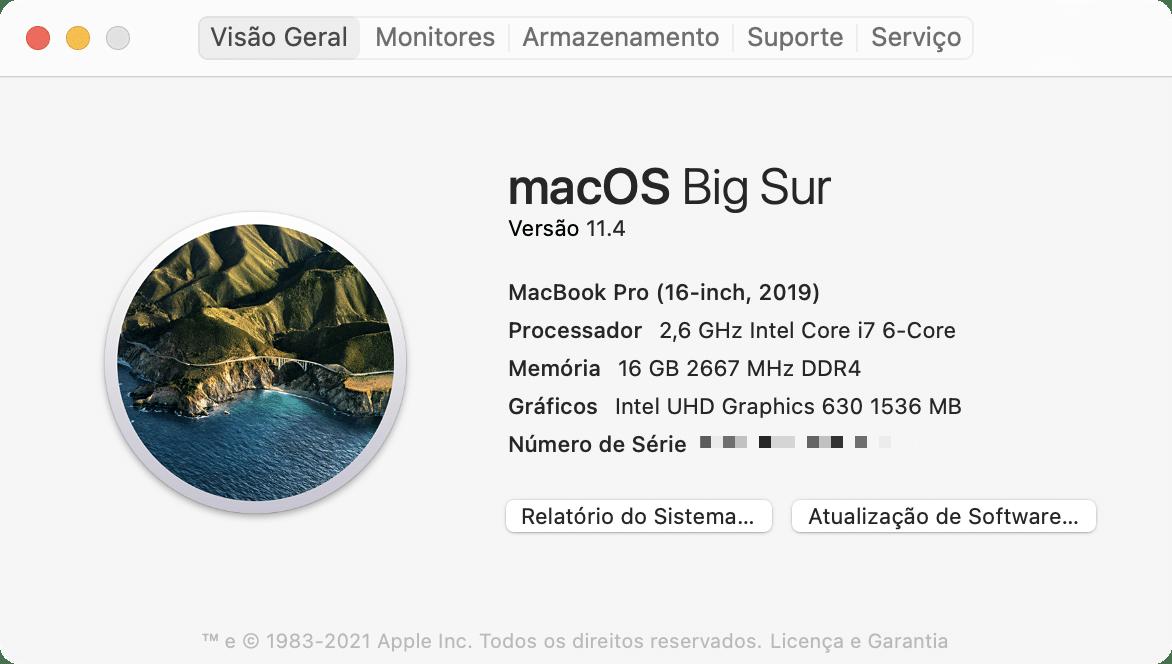 Visualizando o número de série do Mac