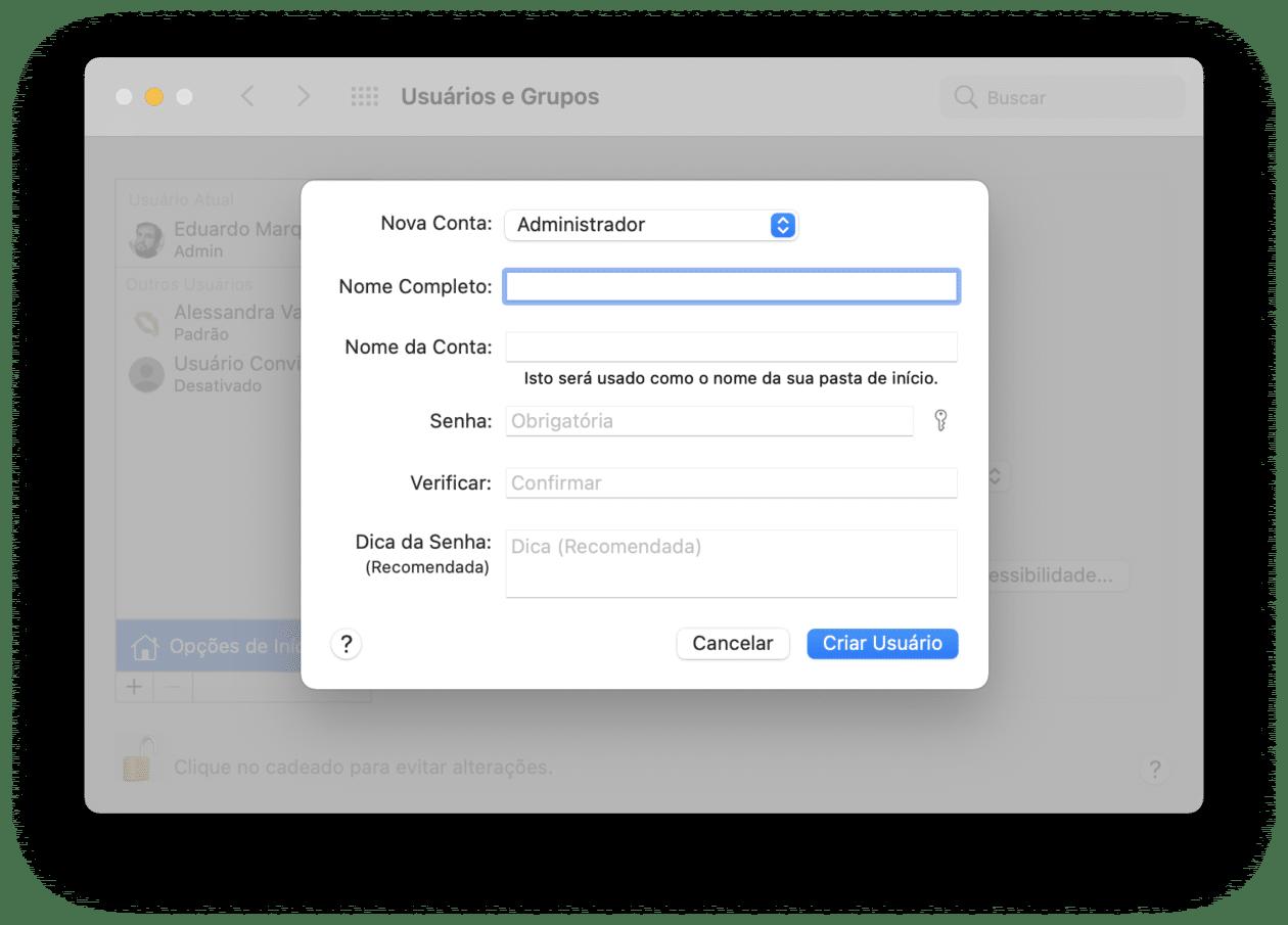 Conta de usuário no macOS