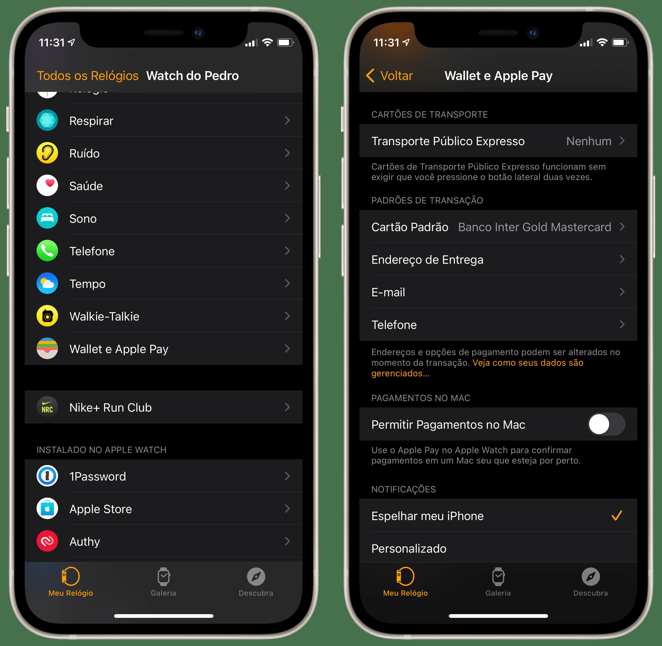 Desativando a opção de pagamentos do Apple Pay do Watch no Mac