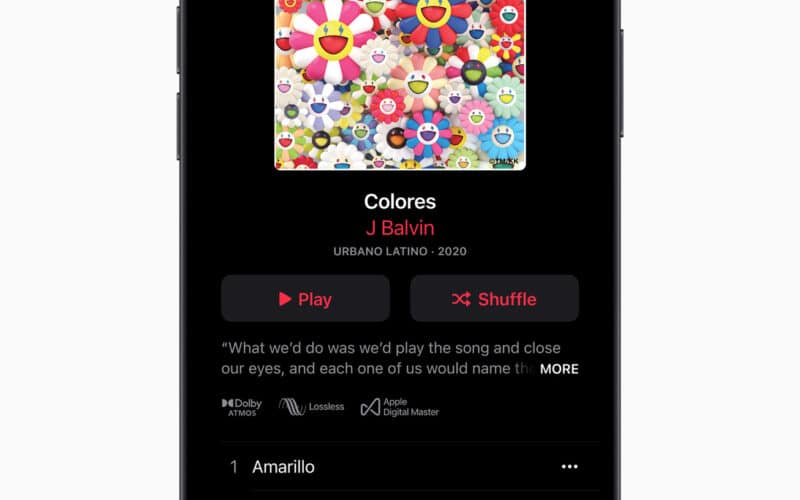 Música no Apple Music com suporte a Dolby Atmos e lossless