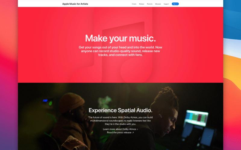 Nova página do Apple Music for Artists