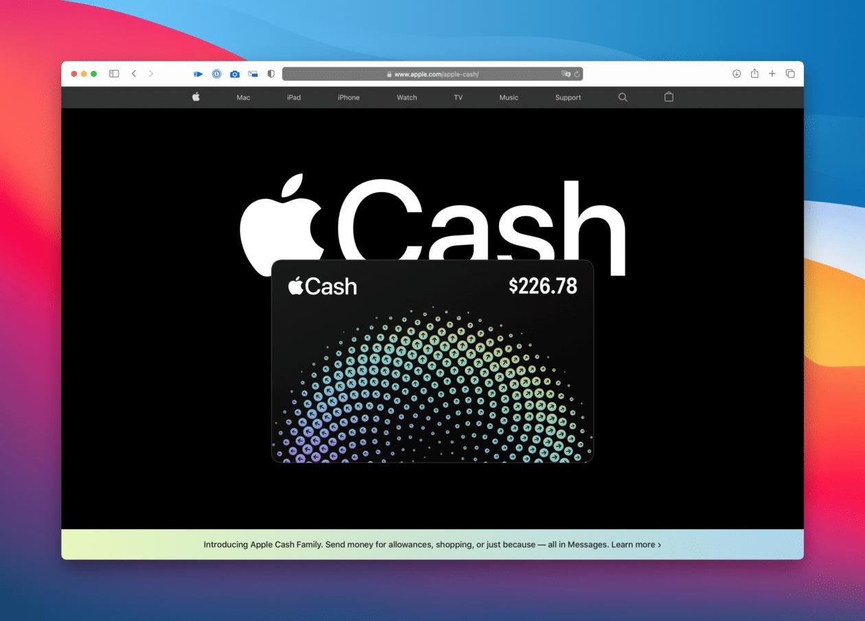 Nova página do Apple Cash