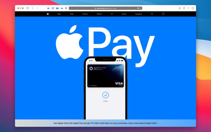 Nova página do Apple Pay
