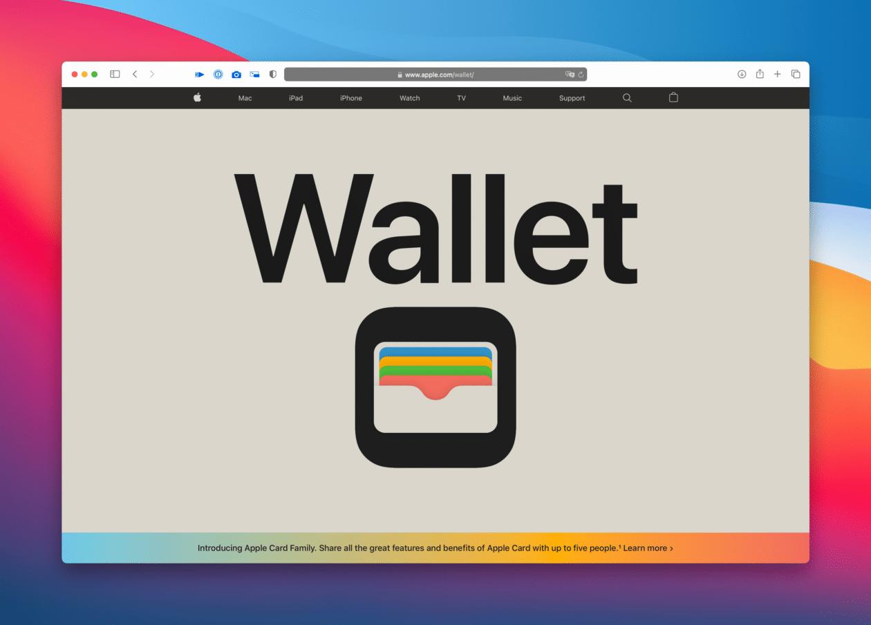 Nova página do Wallet