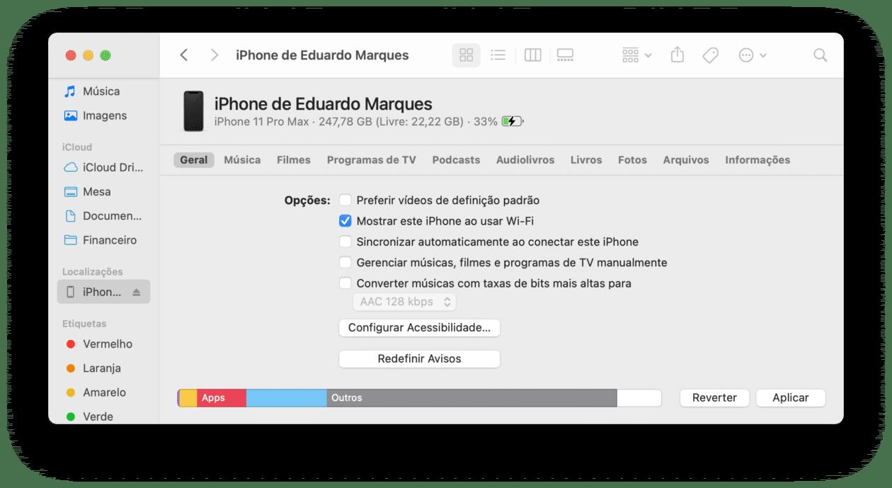 Sincronizar o iPhone com o Mac pela rede Wi-Fi