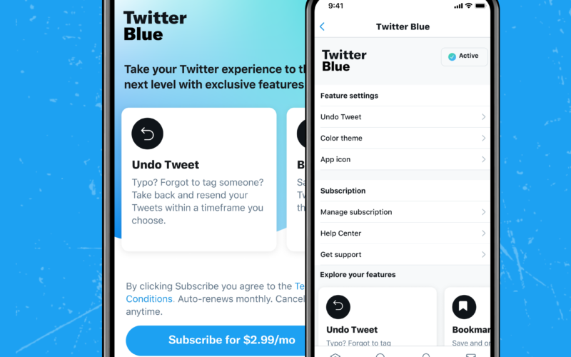 """Imagem de divulgação para a assinatura do """"Twitter Blue"""""""