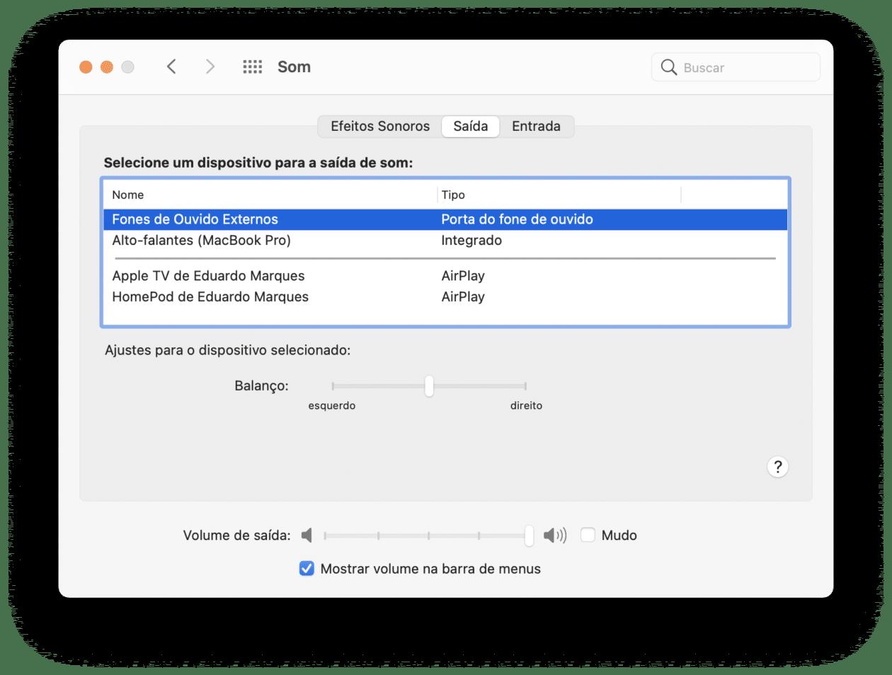 Configurando o som do Mac