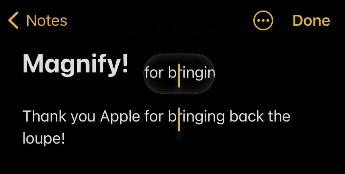 Lupa no iOS 15