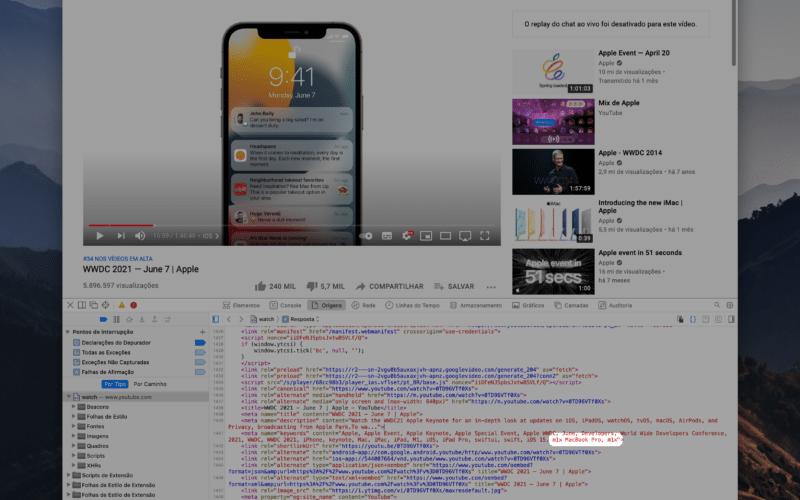 Tag de M1X no vídeo da WWDC21 no YouTube