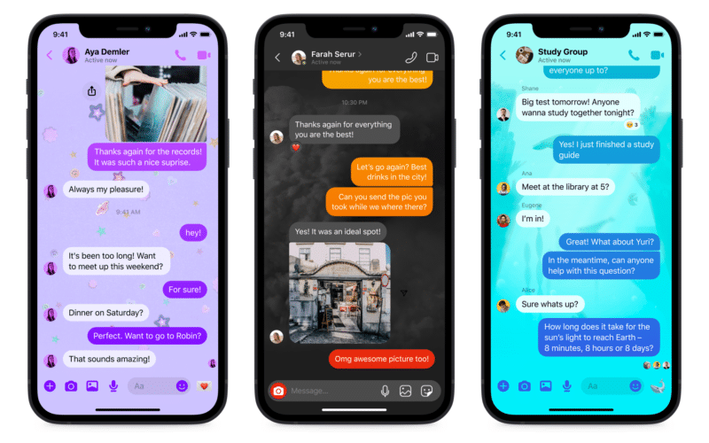 Novos temas do Facebook Messenger