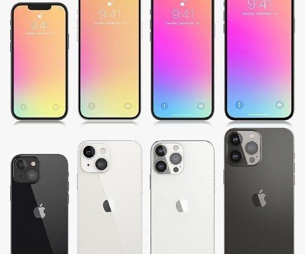 Renders dos possíveis iPhones 13 publicados pelo MyDrivers