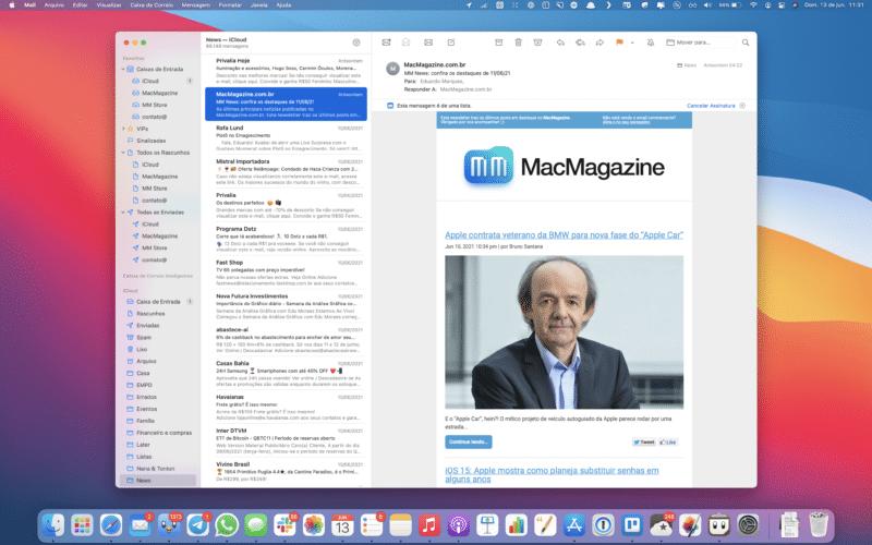 Mail do macOS Big Sur