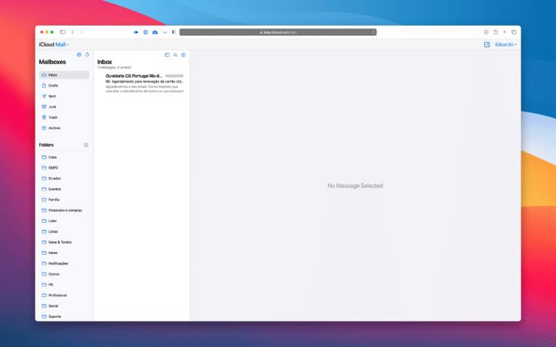 Novo visual do iCloud Mail na Web, ainda em fase beta