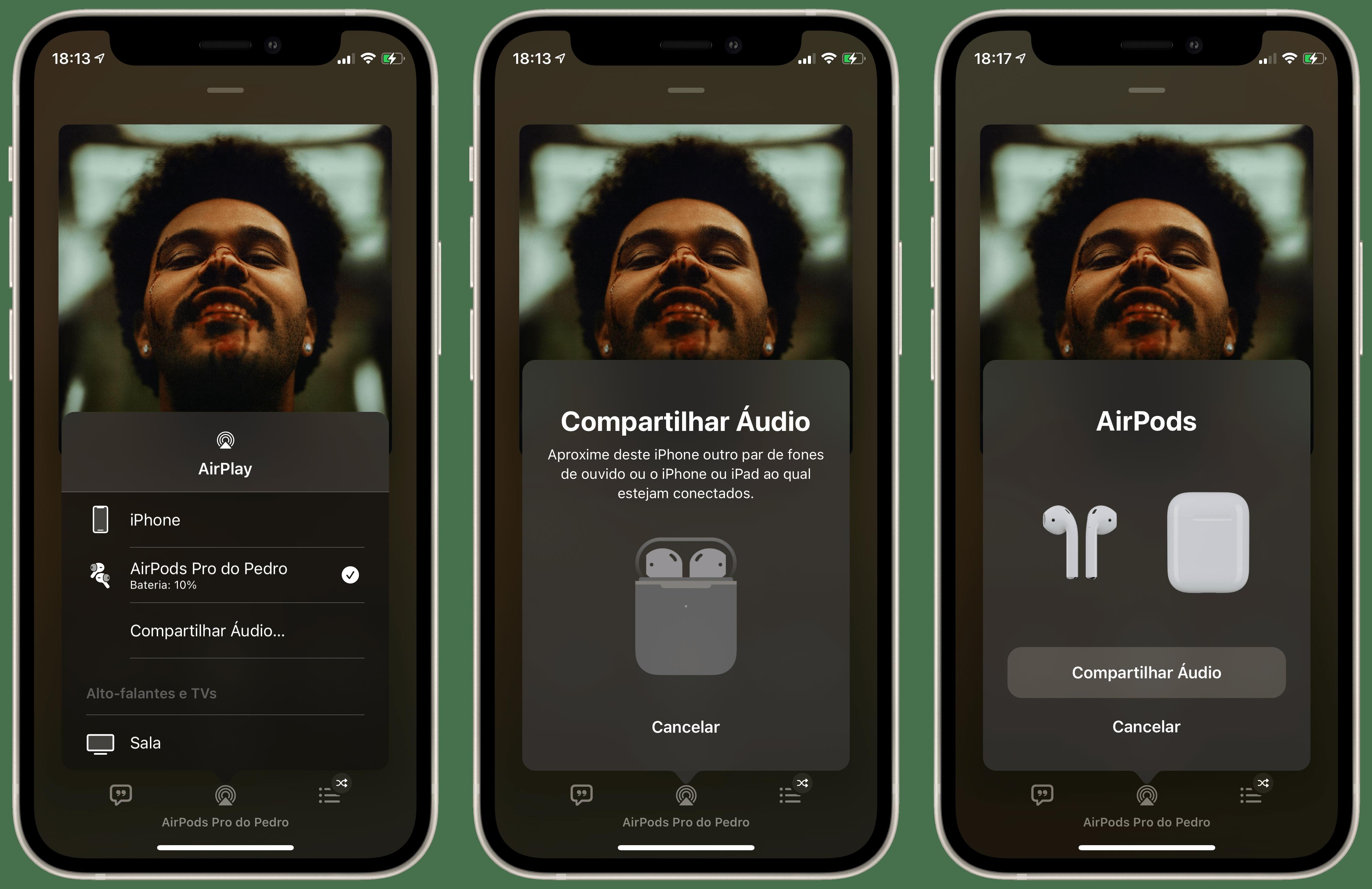 Compartilhar áudio com outros AirPods