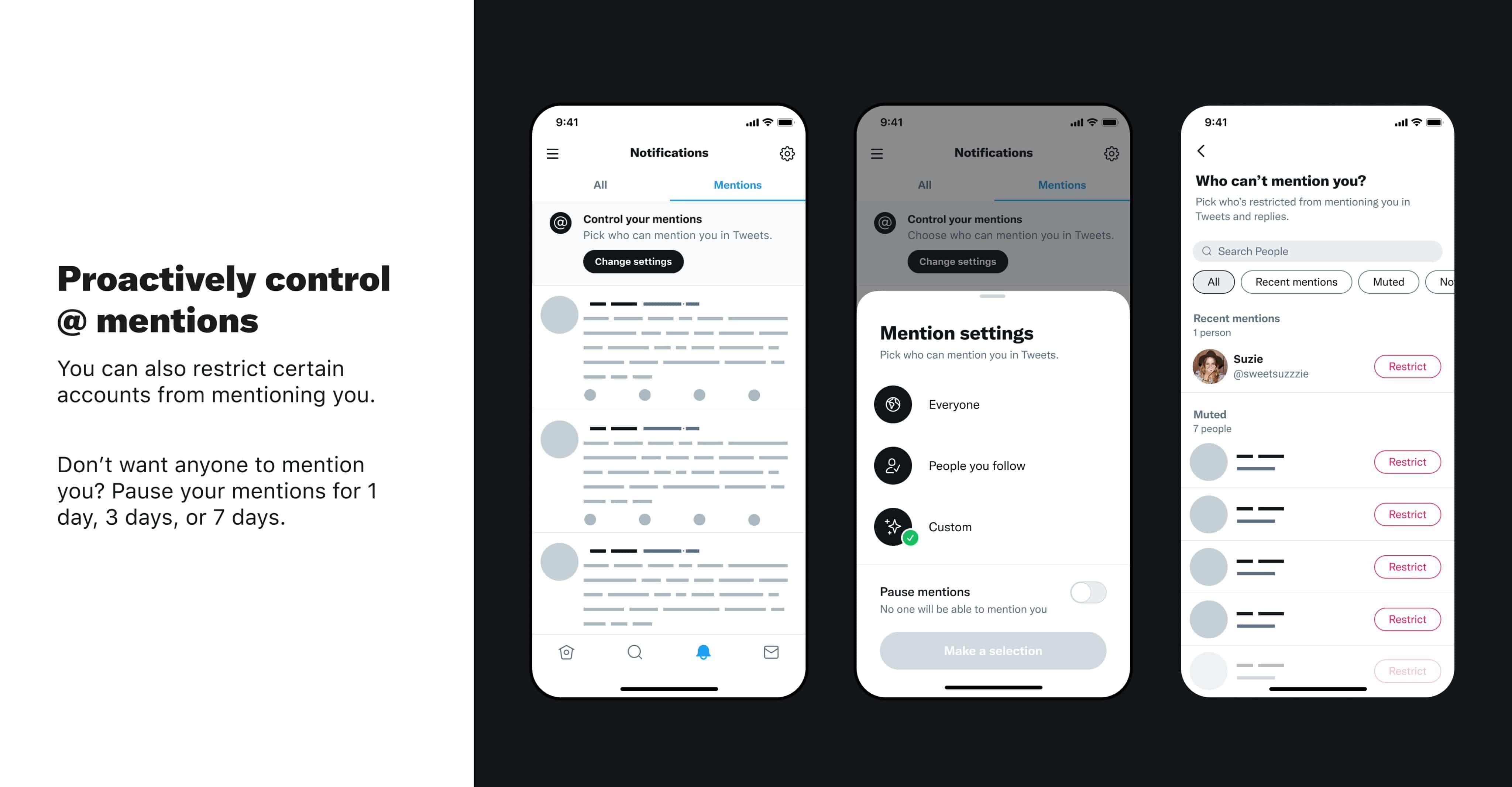 Conceito de recurso de privacidade do Twitter