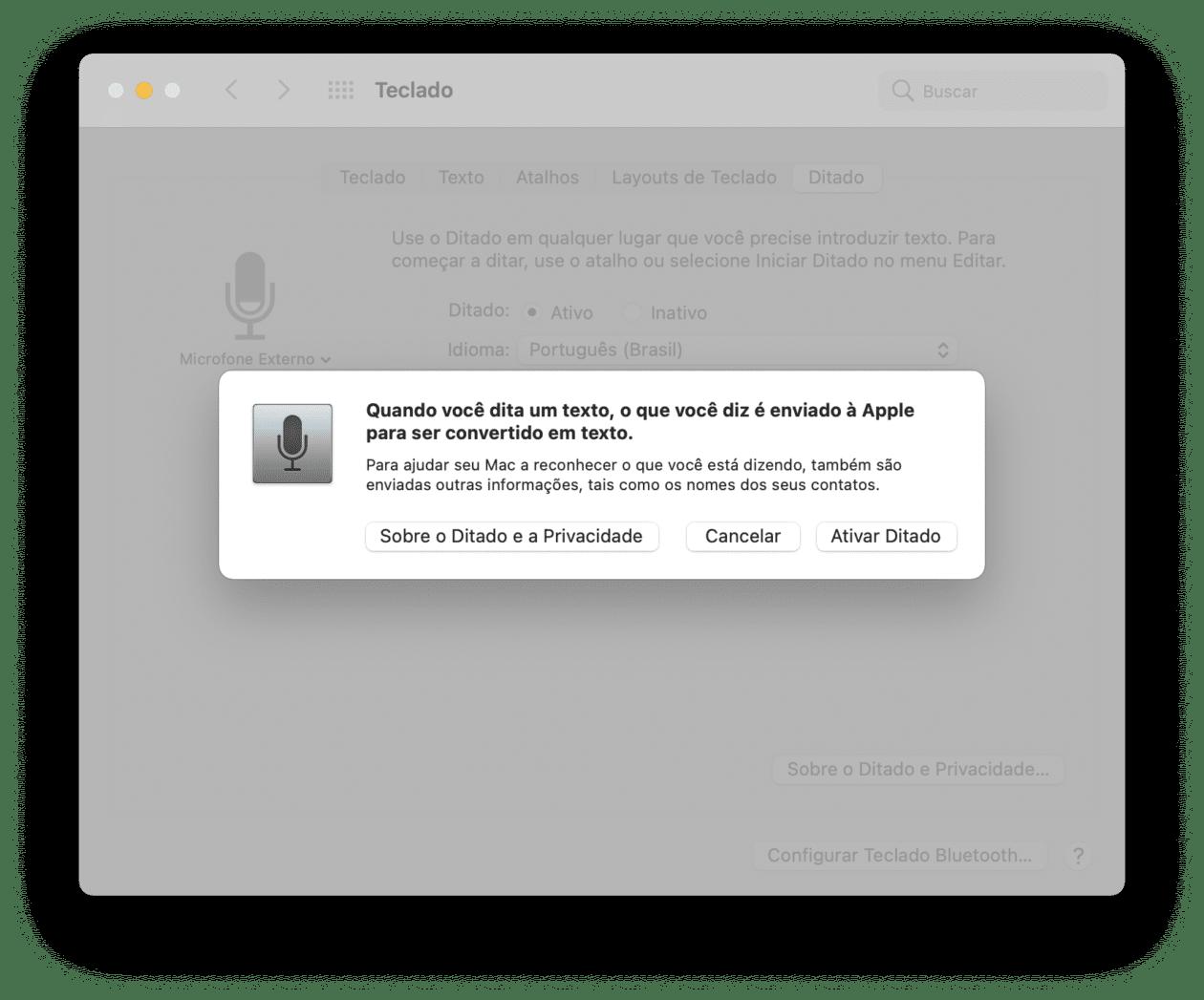 Recurso Ditado no macOS