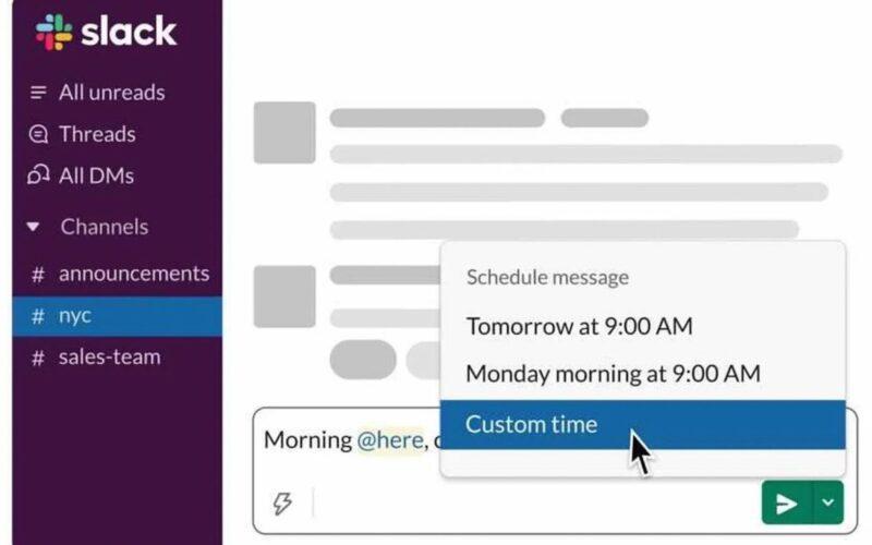 Agendamento de mensagens no Slack