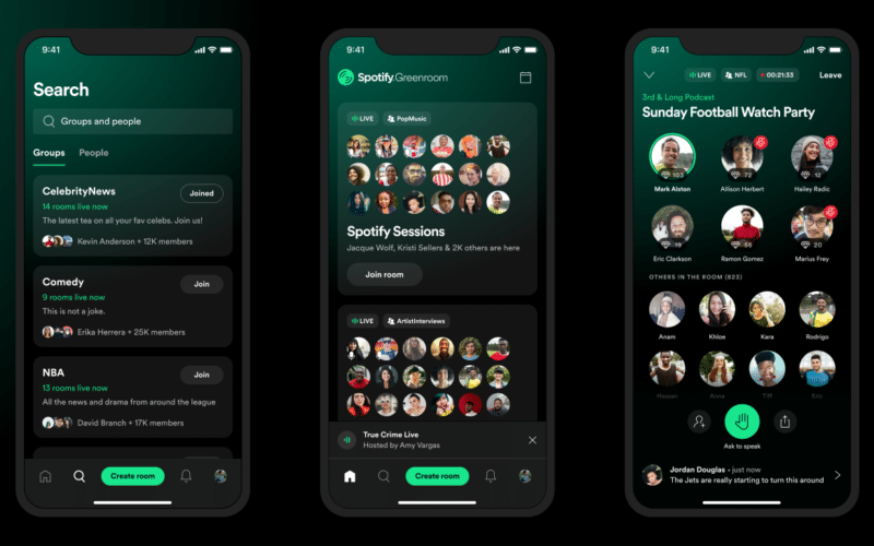 Banner de lançamento do Spotify Greenroom, concorrente direto do Clubhouse e outras plataformas de áudio ao vivo