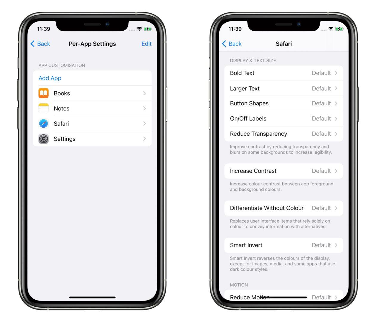 Ajustes de acessibilidade por app no iOS 15