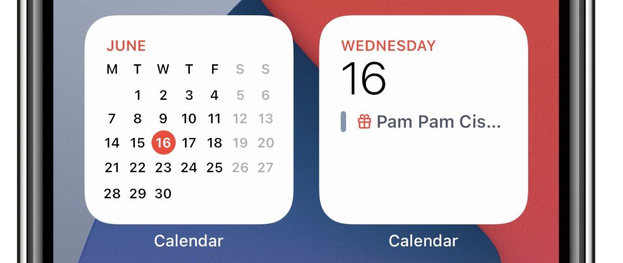 Widget de calendário no iOS 15