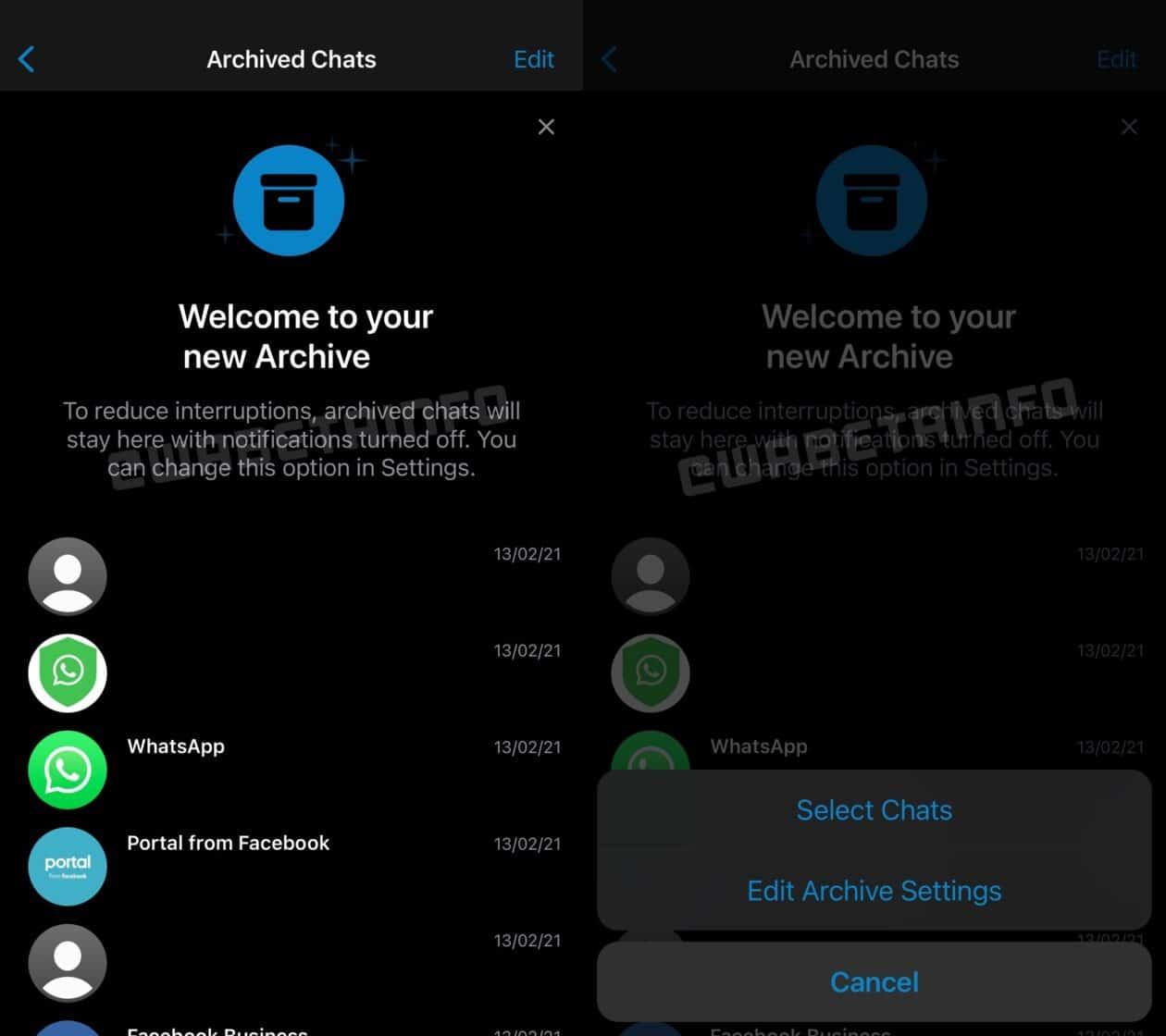 Tela de conversas arquivadas no WhatsApp beta