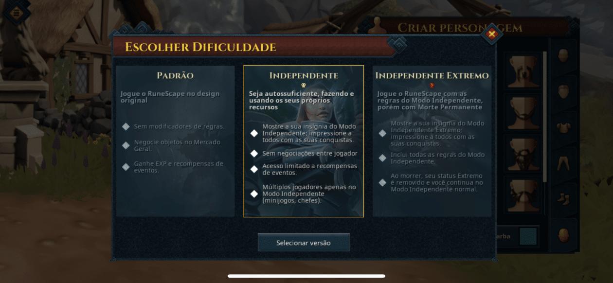 Captura de tela do jogo RuneScape para iOS