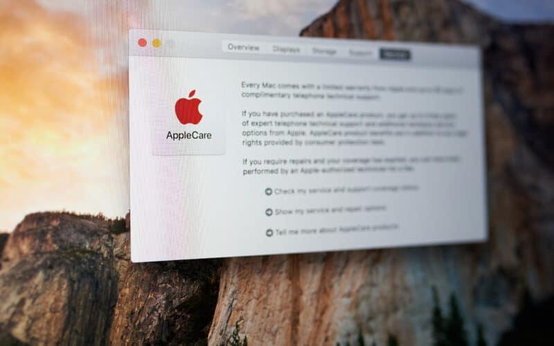 Janela sobre o AppleCare no macOS
