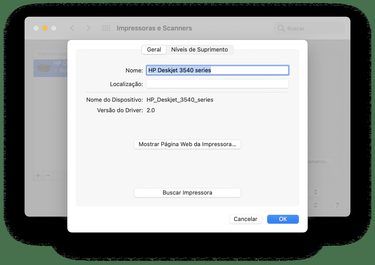 Impressora no Mac