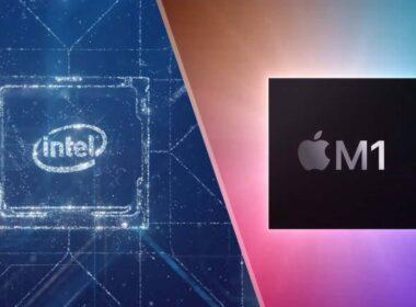 Ilustração de chip da Intel e chip M1
