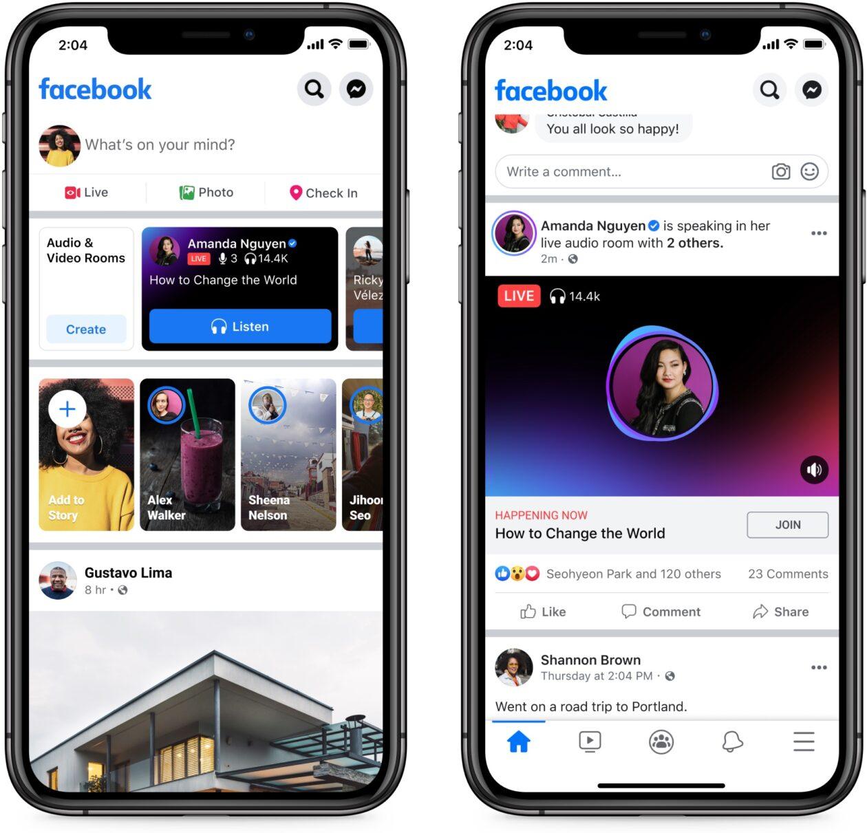 """""""Live Audio Rooms"""", novo produto do Facebook — e rival do Clubhouse —, rodando no iOS"""