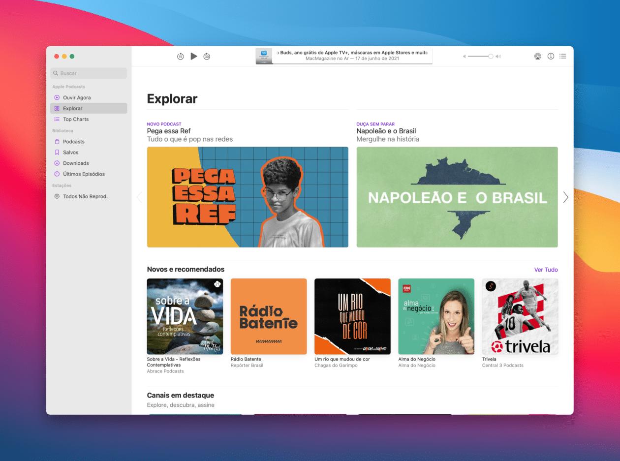 Ouvindo podcasts no Mac