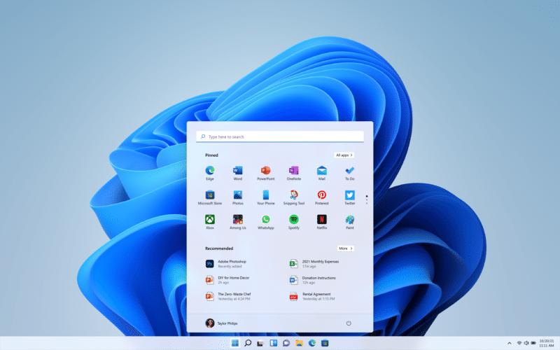 Novo menu Iniciar do Windows 11