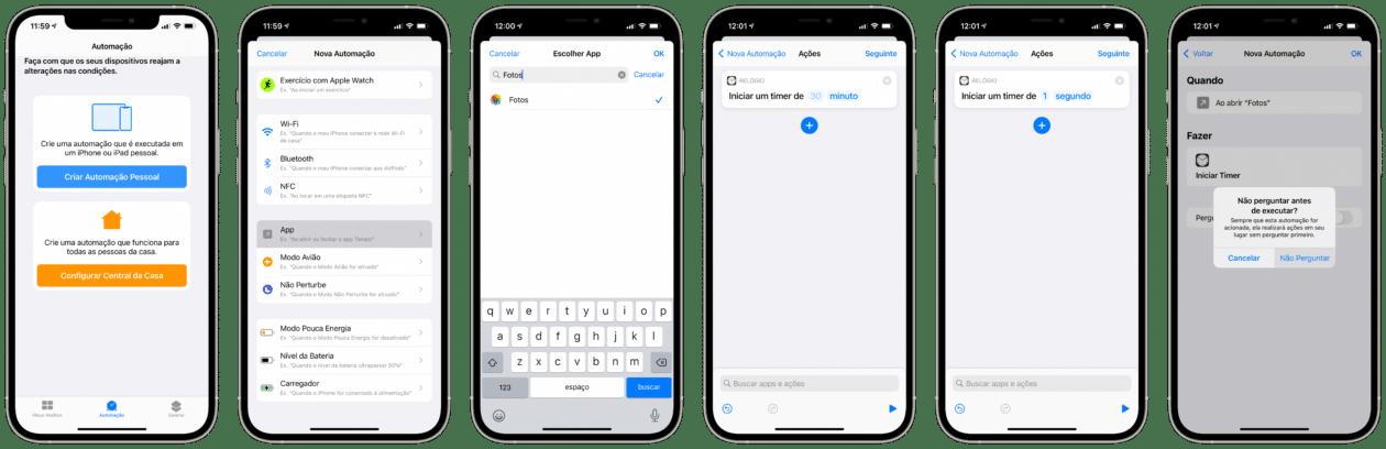 Configurar automação para bloquear apps