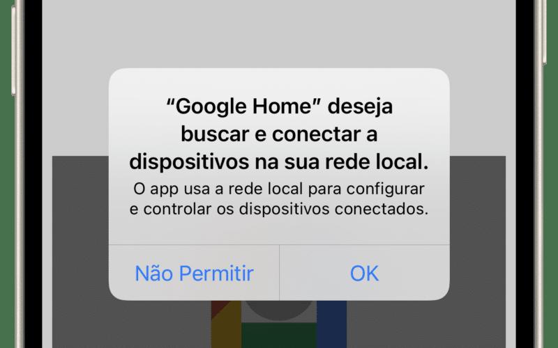 Aviso de acesso à rede local no iPhone