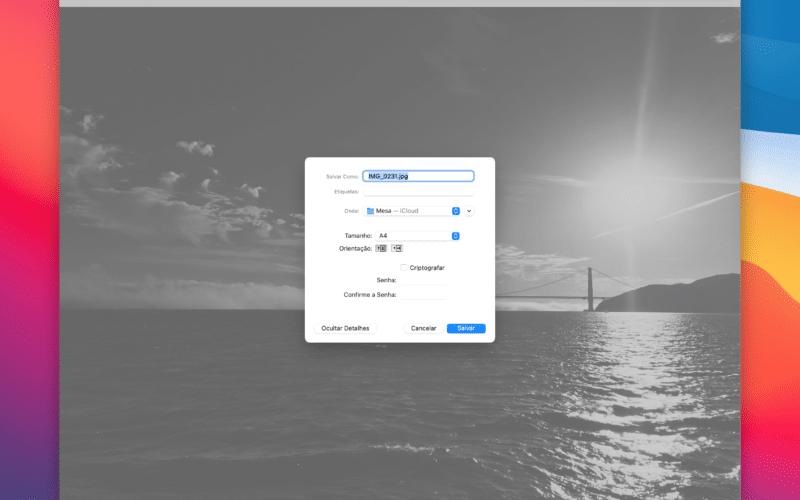 Salvando uma foto como PDF