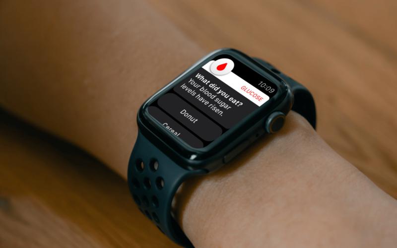 Conceito de medidor de glicose para Apple Watch