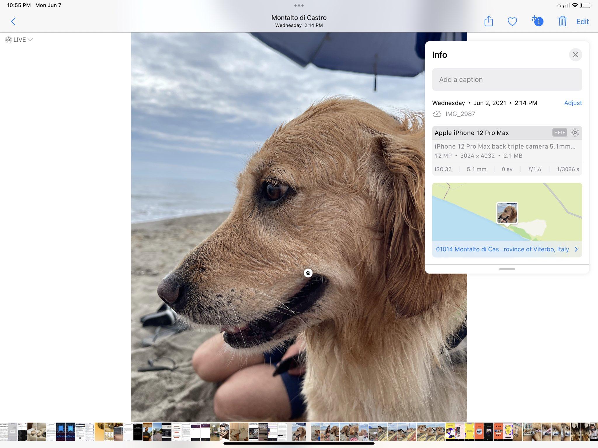Metadados EXIF no iOS/iPad OS 15