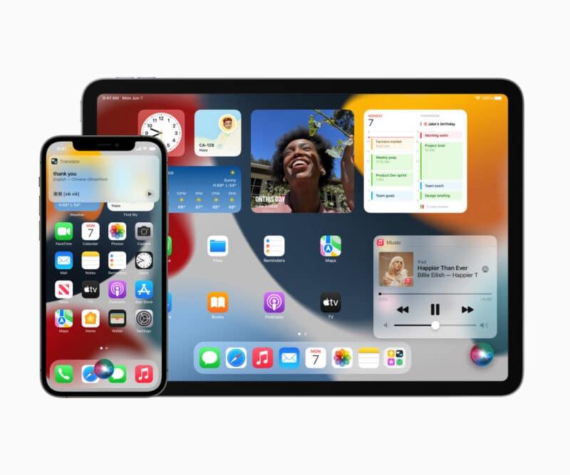 iPhone 12 Pro e iPad Pro com widgets no iOS/iPadOS 15
