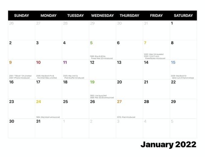 Calendário 2022 com hardwares da Apple