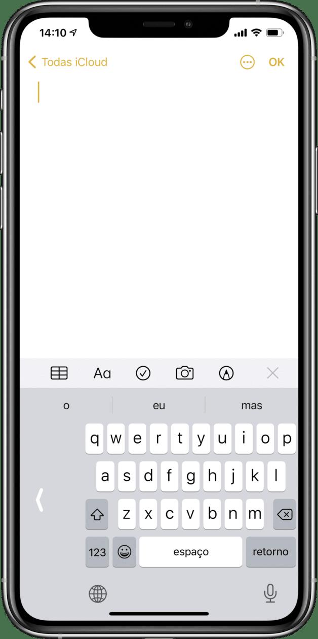 Usando o teclado de uma mão no iPhone