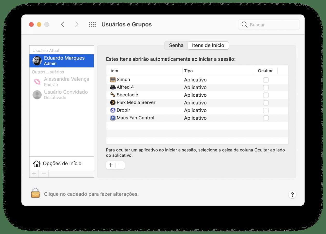 Ítens de início do Mac