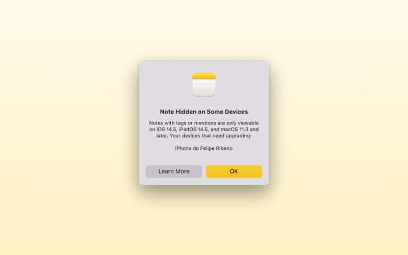Alerta do app Notas nas versões beta