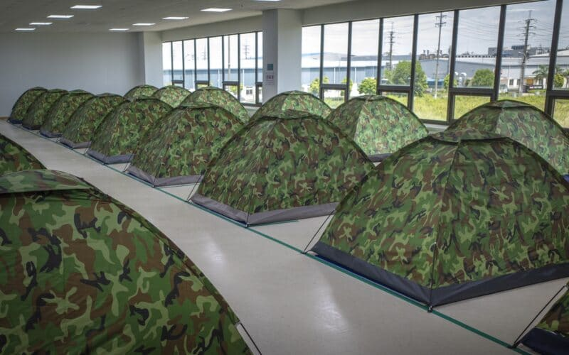 Tendas de trabalhadores no Vietnã