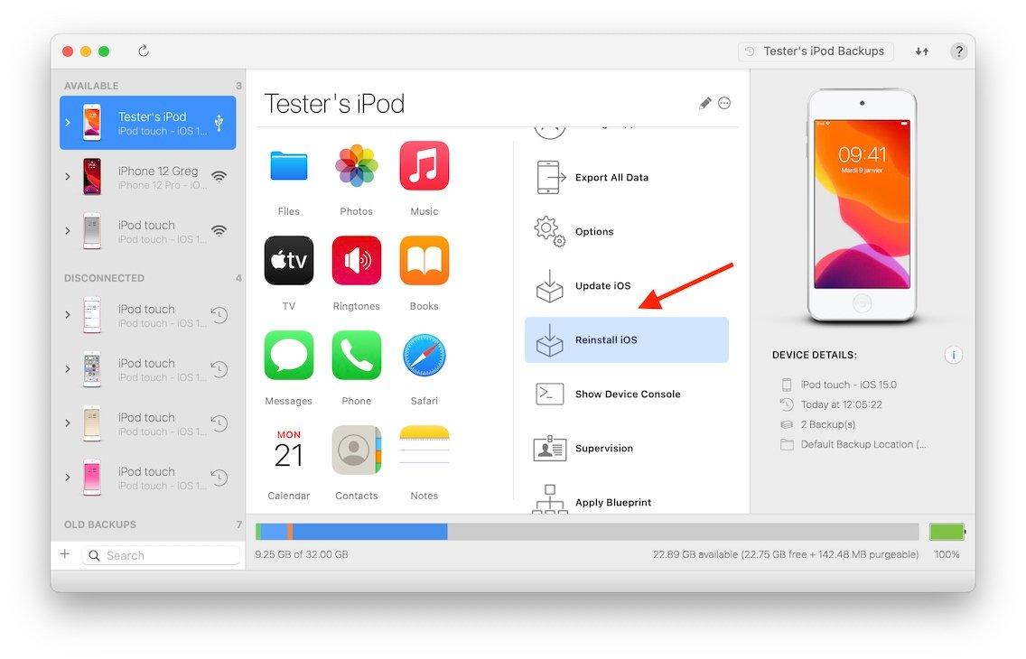Downgrade do iOS 15 com o iMazing